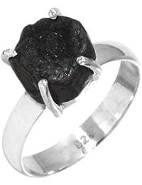 7c3d48c18cca Jeweloporium Sólido 925 Esterlina Plata Joyería Natural Negro Tourmaline  Áspero Anillo
