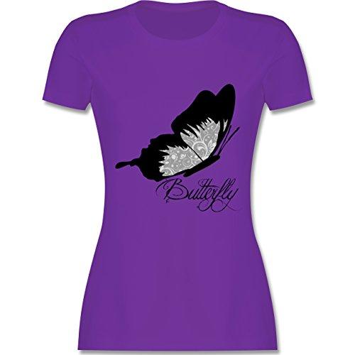Statement Shirts - Butterfly Schmetterling - tailliertes Premium T-Shirt mit Rundhalsausschnitt für Damen Lila