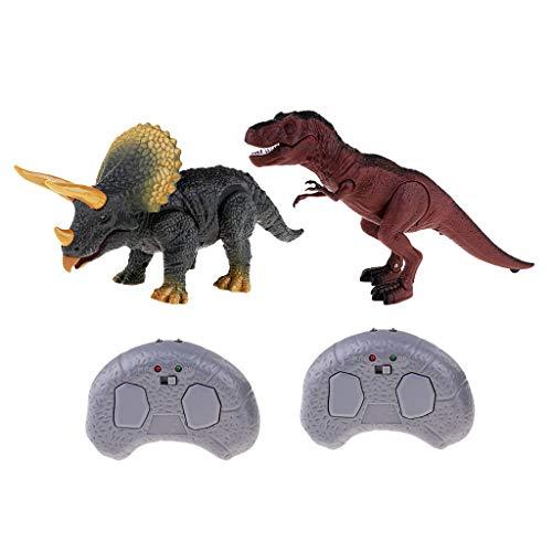 FLAMEER Giocattoli Elettronici Radiocomandati RC Con Luce E Suono Per Bambini (Triceratopo +T-Rex)