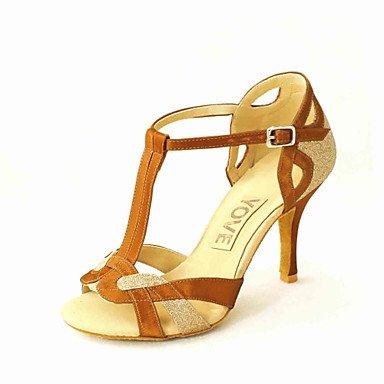 Silence @ Chaussures de danse pour femme en similicuir en similicuir Latin/Salsa Sandales Talon débutants/Professional/intérieur/Practise doré