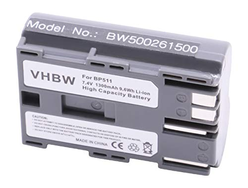 vhbw AKKU 1300mAh (7.2V) passend für Canon ersetzt BP-508 BP-511 BP-512 BP-514 für Optura-Serie: Optura 10 / Optura 100 MC etc. -