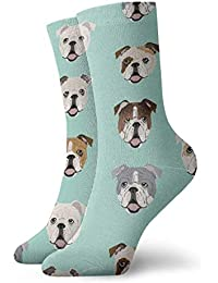 b275c1436de Mint Blue English Bulldog Faces Men Women Novelty Funny Crazy Crew Sock  Printed Sport Athletic Socks