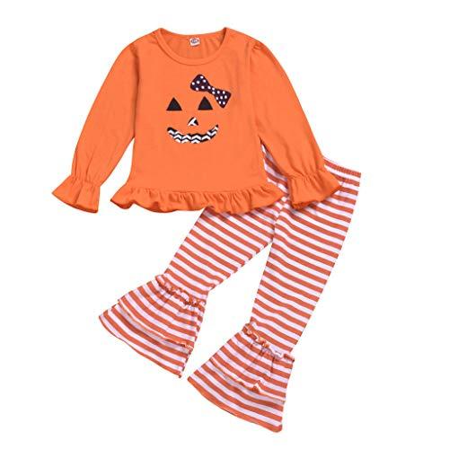 Writtian Happy Halloween Kleinkind Baby Mädchen Kürbis Brief Print Tops +Gestreift Hosen Halloween Outfits Set Tanz Rave Für Festival Cosplay Nette Outfits Set