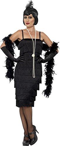 Smiffys 45502L - Damen Flapper Kostüm, Langes Kleid, Haarband und Handschuhe, Größe: 44-46, schwarz