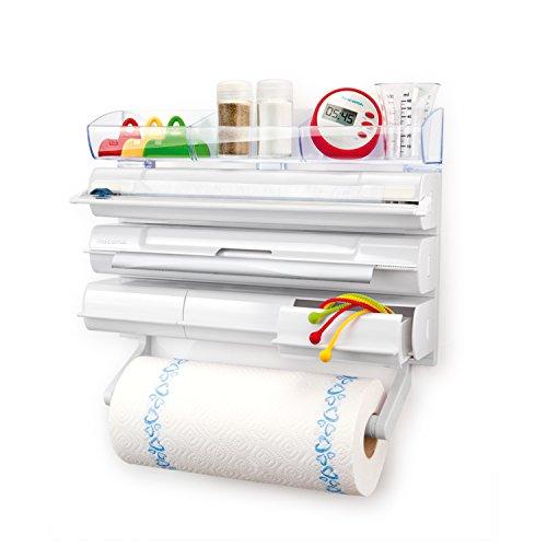 Tescoma onwall portarotoli cucina da parete, 5 in 1, plastica, bianco