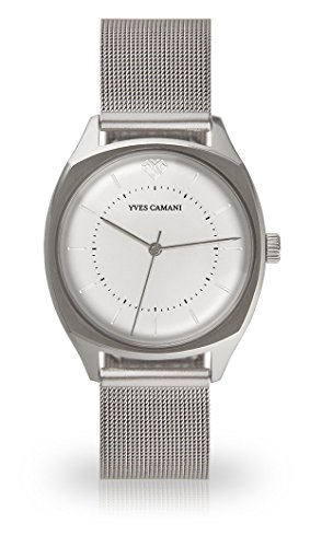YVES CAMANI YVETTE Women's Wrist Watch Quartz Analog Silver Stainless Steel Case Silver Dial (Mesh - Silver)