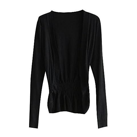 CHIC-CHIC Cardigan Femme Boléro Gilet Tricot Longues Manches Casual (Noir)
