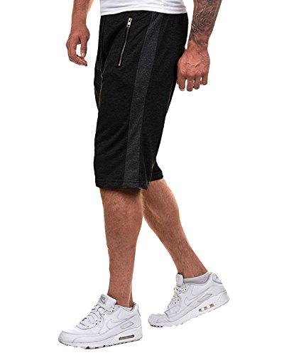MODCHOK Herren Shorts Kurze Hose Jogging-Hose Sport Shorts Freizeit Shorts Sweat-Shorts Bermudas Schwarz 3