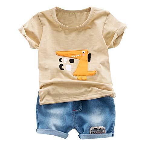 JUTOO 2 Stücke Set Kleinkind Kinder Baby Jungen Cartoon Print T-Shirt Tops + Jeans Kurze Outfits Sets (Khaki,90)
