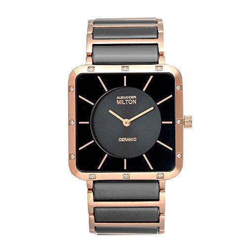 ALEXANDER MILTON - montre homme - SAO, noir/dore rose