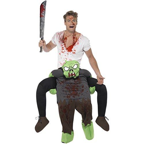 Oramics Halloween außergewöhnliches Horror Zombie Kostüm, Huckepack, Trag Mich Piggyback mit Beinen inklusive Spielzeug-Machete und Fake-Blut, originelle Verkleidung und Kostümidee (Huckepack Halloween Kostüm)