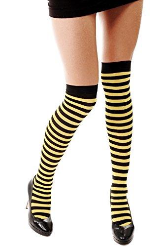 DRESS ME UP Strümpfe Damenstrümpfe Overknees Schwarz Gelb Gestreift Geringelt Ringelstrümpfe Flotte Biene Bienchen Z160 (Frech Oder Nett Kostüm)