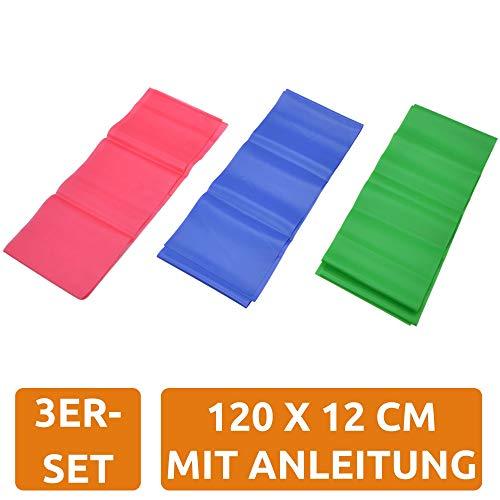bonsport Fitnessbänder 3er-Set 120 x 12 cm - Gymnastikband in 3 Stärken leicht, mittel, stark | Fitnessband für Reha, Fitness, Gymnastik und Physiotherapie