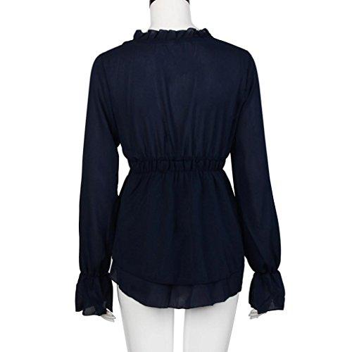 Transer ® Chemisier Femme,Femmes Sexy en mousseline de soie col V lâche Tops shirt à manches longues Casual T-Shirt Blouse Noir/Bleu/Beige/Rose(S-XL) Bleu