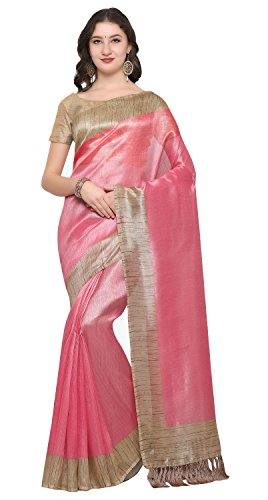 Rajnandini Women's Tussar Silk Plain Saree (Baby Pink)
