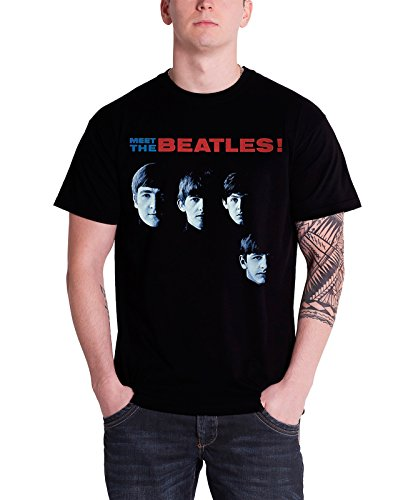 The Beatles Meet The Beatles offiziell Herren Nue Schwarz T Shirt (Beatles-schwarz T-shirt)