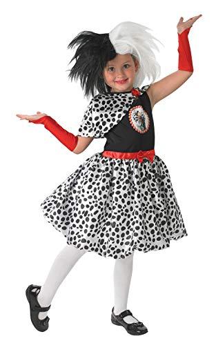Offiziell Lizenziert Disney Mädchen Cruella De Ville Villain Büchertag Woche Halloween Kostüm Kleid Outfit Age 3-10 jahre - Schwarz/weiß, Schwarz/weiß, 7-8 ()