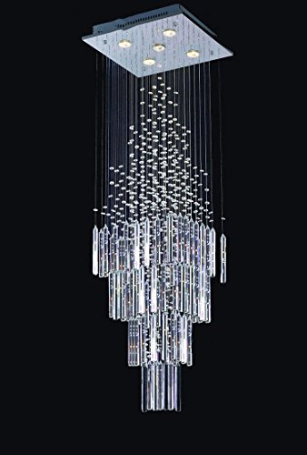 Simple, moderne, suspendu, ligne, cristal, lumière, double, escalier, lumières, conduit, cristal, lustres, éclairage, lampes