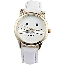 Mallom® Fashion Neutral Diamond Lovely Cats Face Quartz Watch White