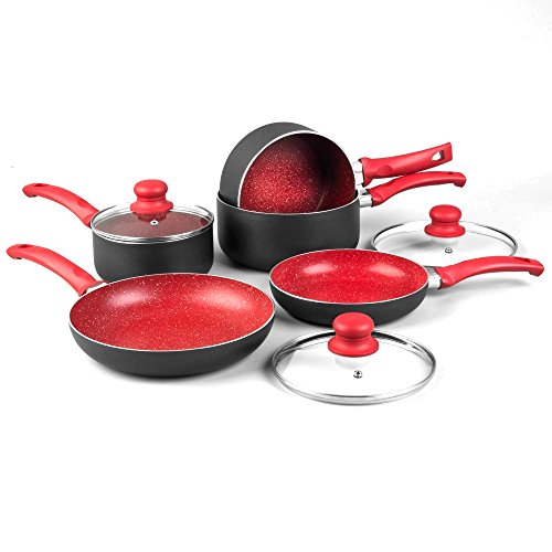 8PC NON STICK INDUCTION STONE PAN SET SAUCEPAN FRYING PAN POT COOKWARE (RED)