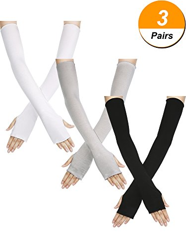 Bememo Unisex UV Protection Anti-sun Long Arms Fingerless Oversleeves, 3 Pairs in 3 Colors