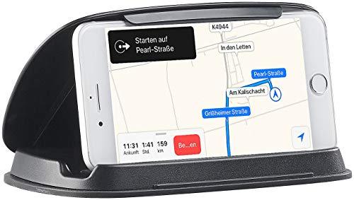 Lescars Navihalter: Universal-Mobilgeräte-Halterung fürs Armaturenbrett, bis 11,5cm Breite (Halterung für Navi)