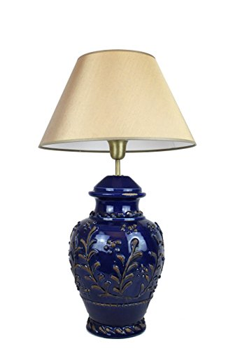 SIGNATURE HOME COLLECTION Keramiklampe mit Stoffschirm, Tischlampe, 40 x 40 x 59 cm, Keramik dunkelblau, Schirm in olive-gold CI-C/R/1000+CO-SI-A207 (Lampe Keramik Floral Tisch)