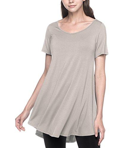 LAPASA Damen Lange Große Größen Longshirt, Kurzarm Basic T Shirts MEHRWEG - L020 (Hellgrau, XXL (letzter Abbildung zufolge))
