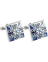 Floridivy Entramado Azul Plateado Gemelos de Cobre geométrica Manga Gemelos Botones Regalos de Las Camisas de la decoración Acessorios