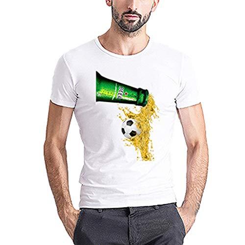 Realde Herren Oder Rundhals Kurzarm Weiß T-Shirt Happy Beer Day Loose 3D Bierdruck Oberteil Herbst und Winter Passt super auch zur Jeans Männer BequemTops Größe M-XXXL - Ralph Lauren Denim Weiß