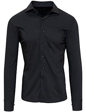 Camicia uomo sartoriale nera in cotone slim fit casual elegante cerimonia
