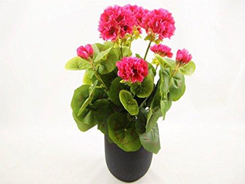 38 cm Soie Rose géranium Fleurs Artificielles En Pot Plante Maison ~ gris