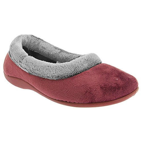 Sleepers JULIA Ladies Memory Foam Full Collar Slippers Burgundy UK 4 Womens Sleeper