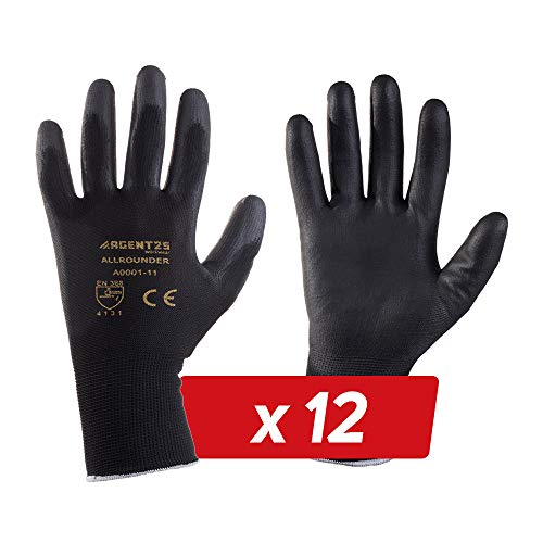 12 Paar AGENT25 Montagehandschuhe Arbeitshandschuhe Gartenhandschuhe Gr. 6-12 Schutzhandschuhe gegen mechanische Risiken (PU, 10)