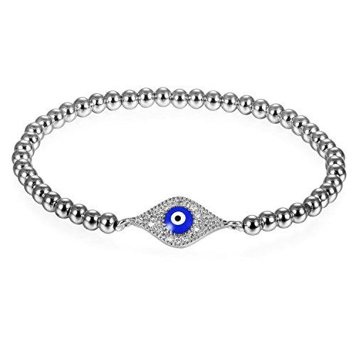 JewelryWe Pulsera de Mujer Plateada El Mal de Ojo Azul, Pulsera Acero Inoxidable Bolitas de Buena Fortuna, Circonitas Brillantes Brazalete