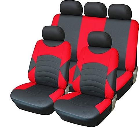 VW Volkswagen Golf Cabriolet 94–01Housse de siège Sport Look Noir et Rouge en Cuir de Luxe