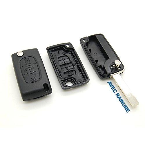 Guscio per chiave plip a telecomando con pulsanti per l'apertura di portiere e baule, per Citroën C4 Picasso, con scanalatura