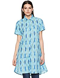 Indi lite Women Light Blue Ikat Printed Cotton Short Sleeve Shirt style short Kurta
