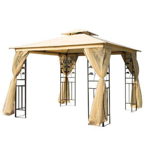 Outsunny Tonnelle Barnum Style Colonial Double Toit Toiles moustiquaires Amovibles 3L x 3l x 2,65H m...