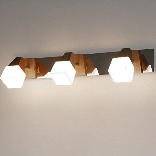 LIYAN minimalistische Wandleuchte Wandleuchte E26 /E27 Die neue Chinesische aus Massivholz eiche Kopfteil aus Holz design hotel Schminktisch Küche Schlafzimmer Wandleuchten drei Kopf -