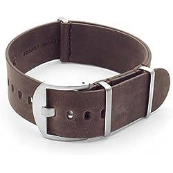DASSARI Veteran Italian Leather G10 NATO Zulu Watch Strap in Vintage Brown 18mm