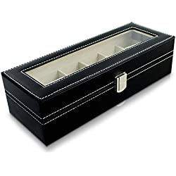 VENKON - 6 Compartments Watch Display Case with Glass Lid Sorting Box for Storage & Presentation of Wristwatches - Faux Leather - Black