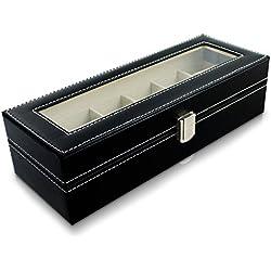 VENKON - Uhrenbox für 6 Uhren mit Schaufenster aus Glas für Aufbewahrung & Präsentation - Kunstleder Schwarz - 30 x 11 x 8 cm