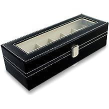 VENKON - Caja para 6 Relojes de Pulsera Vitrina Joyería Almacenamiento y Presentación de Reloj Organizador - Cuero Sintético Negro