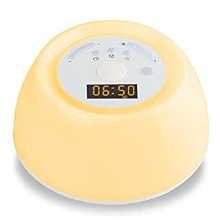 Alarm Clock Wake Up Light ANYOYO Sleep Aid Night Light Eyes Protection Bedside Lamp 8 Natural Sounds 256 RGB Colors Sunrise Sunset Simulation Gift for Bedroom Kids Christmas …