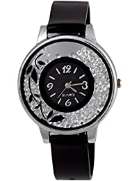 Rage Enterprise Stylish Movable Diamond Colorful Dial Women Watch For Girls (Black)