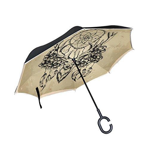 jstel doble capa auxiliar vintage cabeza de ciervo Atrapasueños paraguas coches Reverse resistente al viento lluvia paraguas para coche al aire libre con asa en forma de C