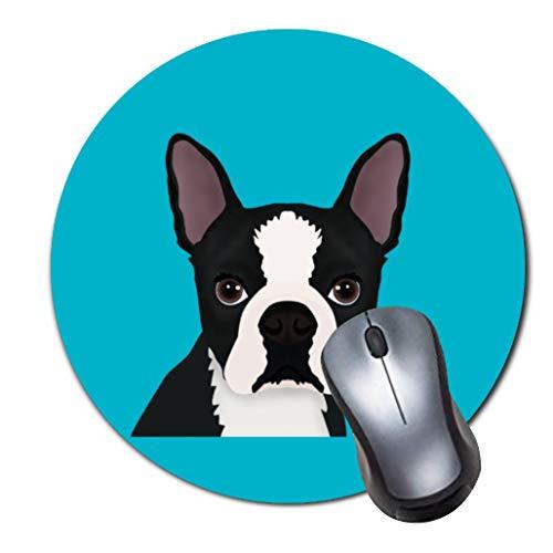 2er-Pack Dickes Gummi-Mauspad in Premium-Qualit?t Rundes Mauspad mit weichem Tragekomfort Gaming-Mauspad von ROOMBA-Boston Terrier Cartoon Akzent Kissen -