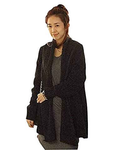 Minetom Long Cardigan Hooded Women Rainbow Knitted Sweater Jumper Poncho Cape Coat Black One Size