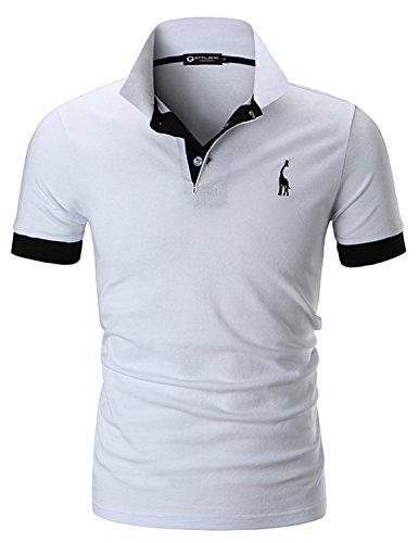 STTLZMC Polo para Hombre de Manga Corta Casual Moda Algodón Camisas Cuello en Contraste Golf Tennis,Blanco,XL
